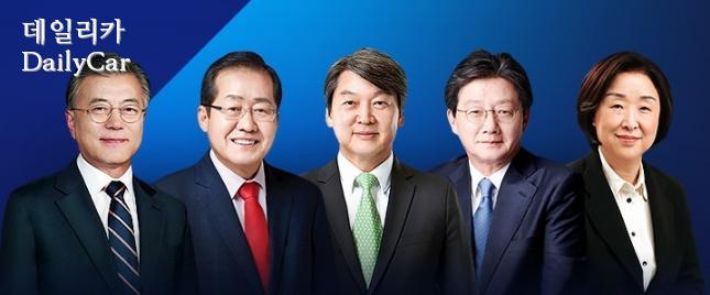 문재인, 홍준표, 안철수, 유승민, 심상정 후보(왼쪽부터)