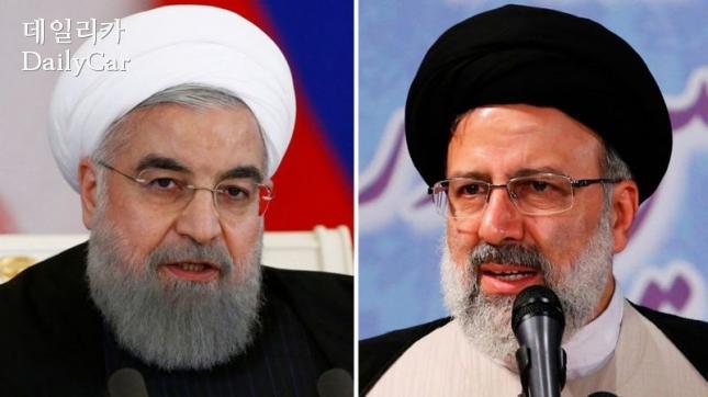 하산 로하니 이란 대통령, 에브라힘 라이시 대통령 후보 (왼쪽부터)