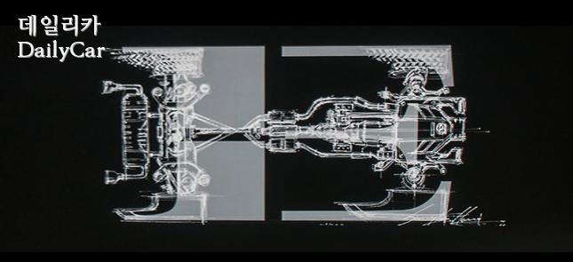 스팅어 엠블럼은 후륜구동 방식의 구조를 추상적으로 나타낸다
