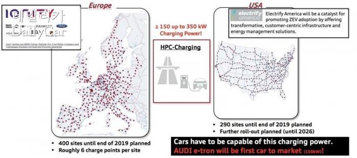 아이오니티(Ionity), 유럽과 미국 충전 인프라 지도 (출처 Electrek)