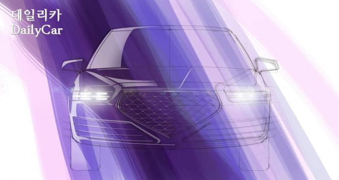 스케치로 표현된 G90 페이스 리프트의 예상도