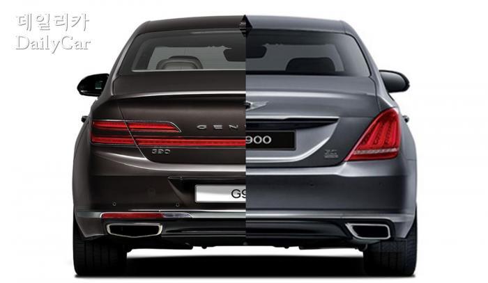 G90과 EQ900의 뒷모습