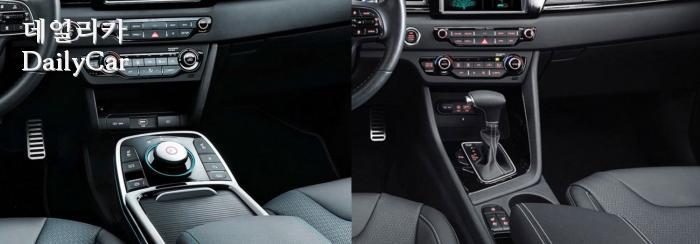 니로 EV(좌)의 가장 큰 차이는 다이얼 방식의 시프트 노브 이다