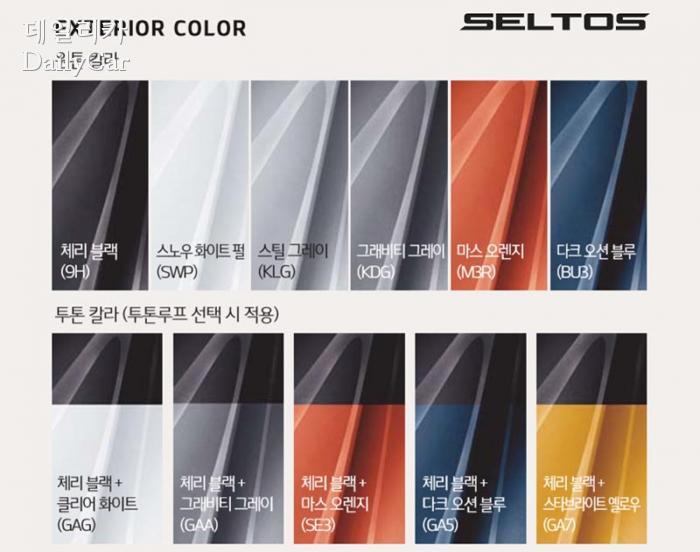 셀토스 외관 색상 선택