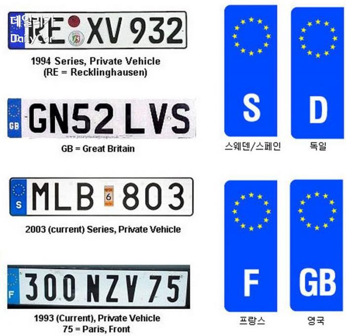자동차 번호판 (다양한 그래픽과 서체가 적용된 번호판)