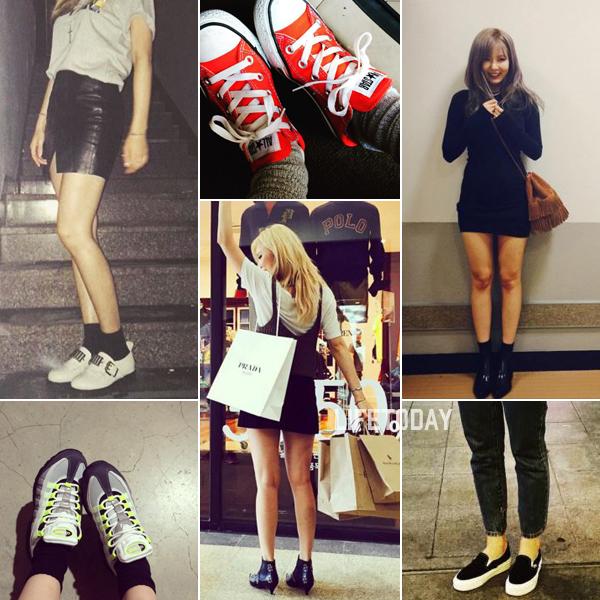 9946c40bb73 현아 연예계 대표 섹시 아이콘인 현아. 그녀는 화려한 외모와 달리 슈즈는 최대한 심플하고 클래식한 것으로 선택한다. 신발을 착용할 때도  흰색 로퍼에 검정색 삭스를 ...