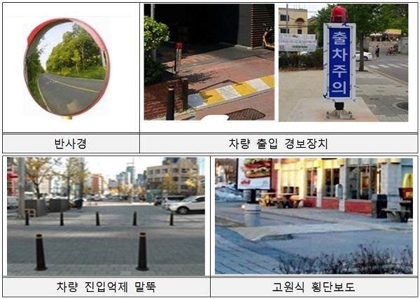 차량 진출입로 안전시설 예시(자료=국토교통부)