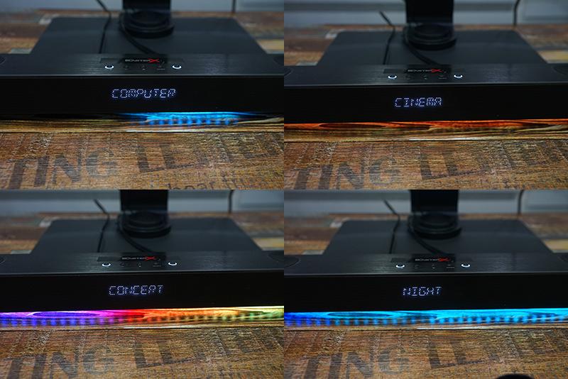 음향 효과에 따라 LED 효과가 달라진다. 별도 소프트웨어로도 제어 가능하다.