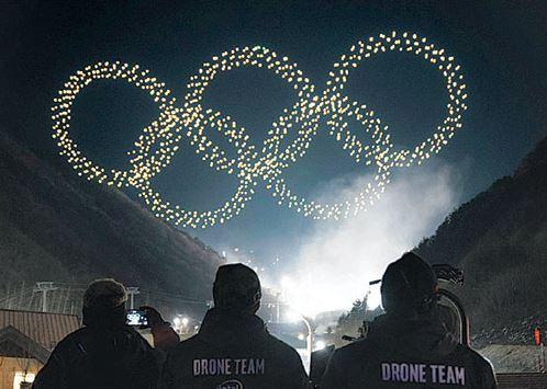 2018 평창 동계올림픽 개막식 하늘을 수놓은 드론들, 출처: 인텔