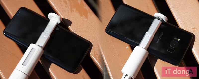 스마트폰은 최대 폭 85mm까지 된다. 갤럭시 노트10 +도 장착 가능.