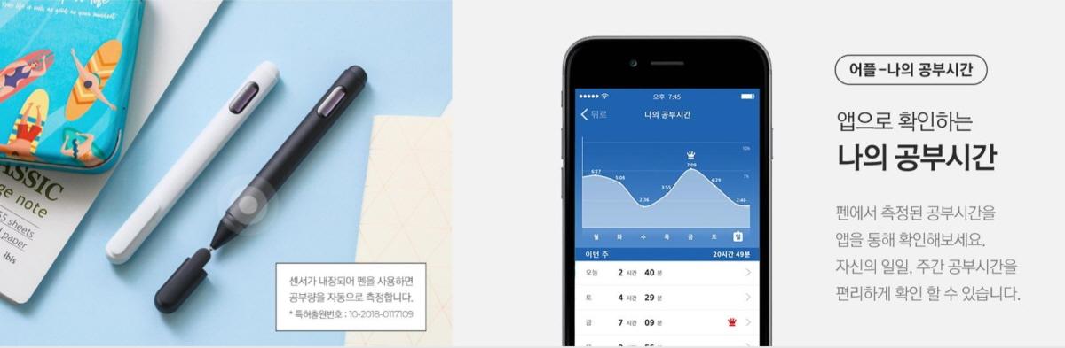 학습량을 측정해 스마트폰으로 연동, 확인할 수 있다, 출처: 테솔로