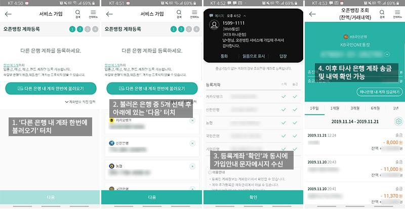 복잡한 절차를 거치고 나면, KEB 하나은행 앱으로 타사 은행 계좌를 쓸 수 있다.