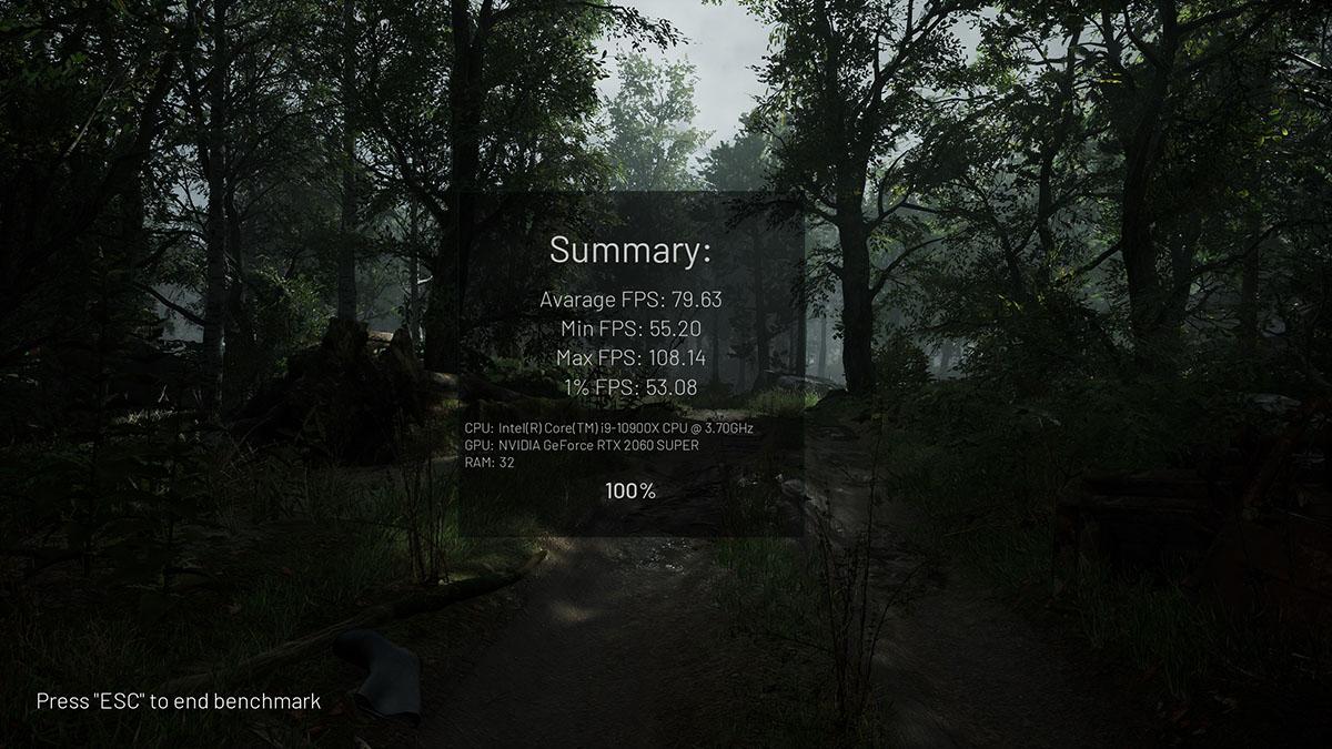 게임 체르노빌라이트의 성능 측정 결과.