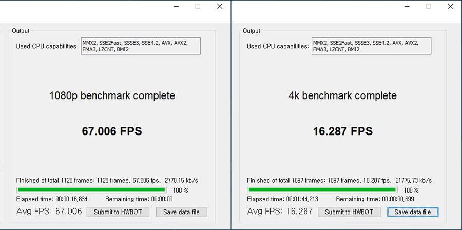 영상 변환 소프트웨어를 통해 확인한 코어 i9-10900X의 성능.