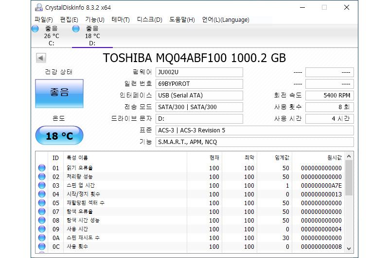 2.5' 1TB 하드 디스크가 내장돼있다.