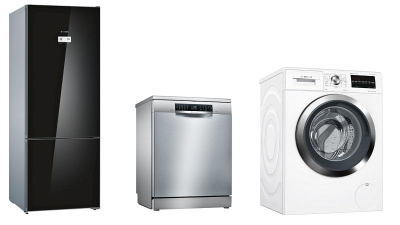 한국에 출시된 보쉬의 비타프레시 플러스 냉장고와 지오라이트 식기세척기, 드럼 세탁기
