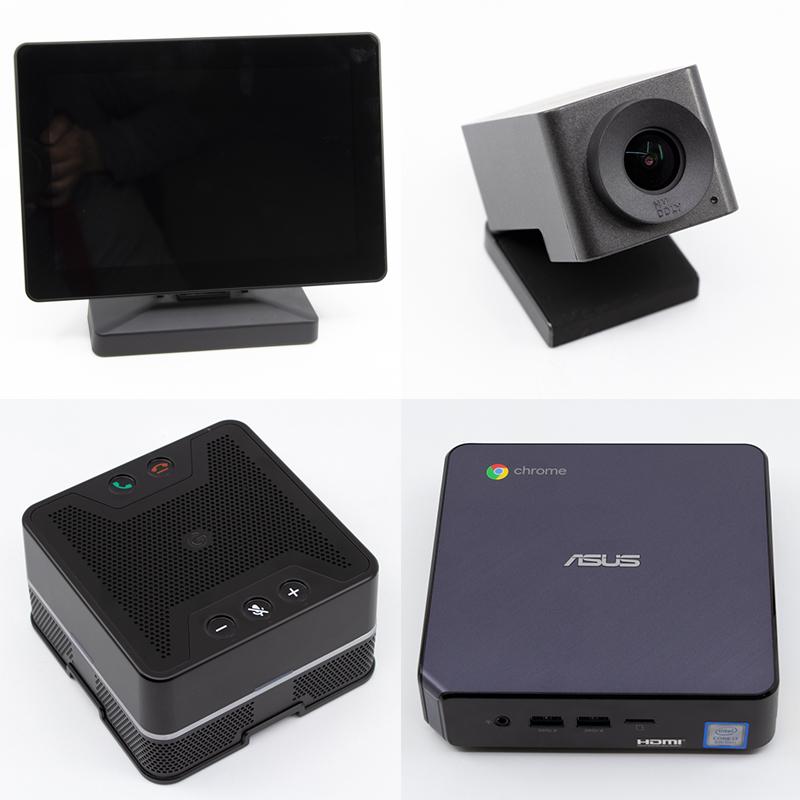 모니터, 웹캠, 스피커 겸 마이크, 크롬 박스로 구성돼있다.