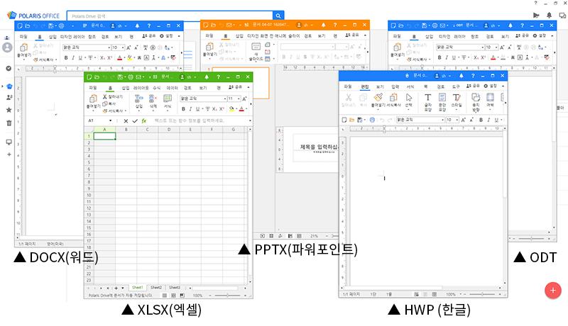 주요 문서를 폴라리스 오피스 하나로 열람, 편집할 수 있다