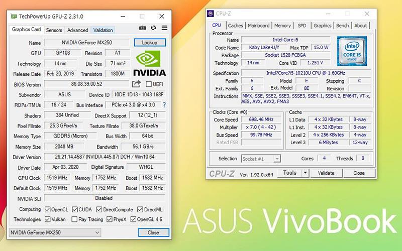 인텔 코어 i5-10210U와 엔비디아 지포스 MX250이 탑재됐다. 출처=IT동아