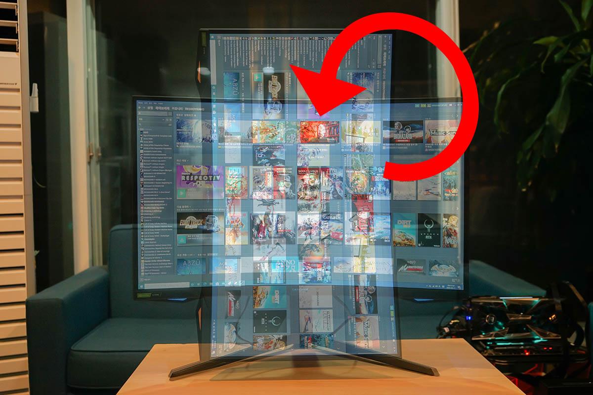 흥미롭게도 화면을 90도 꺾어 쓰는 피봇 기능을 지원한다.