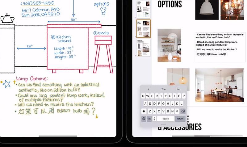 스크리블을 활용해 좌측 하단의 텍스트를 우측 중앙에 복사·붙여넣기 한 예시. 출처=애플코리아