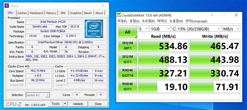 프로세서는 인텔 펜티엄 실버 J5040이 탑재돼있고, 저장 장치 속도는 읽기 534mb/s 쓰기 465MB/s 수준이다. 출처=IT동아