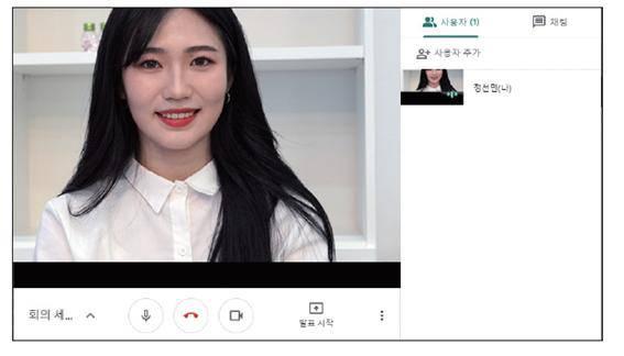 회의 진행자의 영상 표시