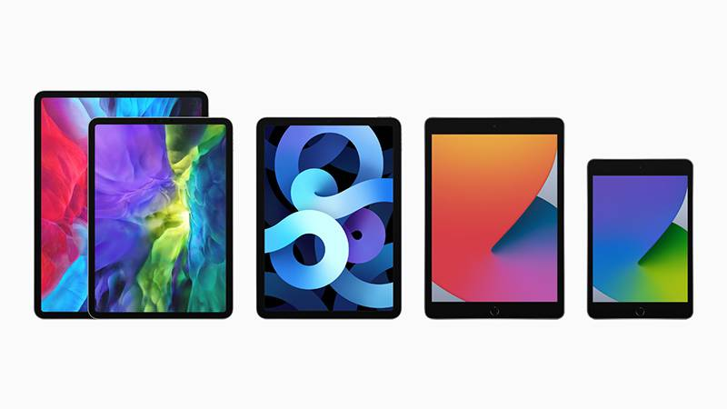 좌측부터 애플 아이패드 프로, 애플 아이패드 에어, 아이패드, 아이패드 미니 시리즈다. 출처=애플코리아