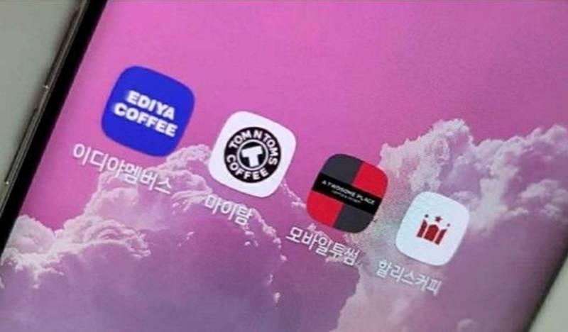 모바일 주문 서비스 앱. (왼쪽부터)이디야,탐앤탐스,투썸플레이스,할리스커피