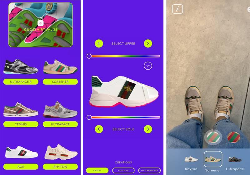 구찌가 소개한 'gucci virtual 25'앱, AR 기능을 활용한 가상 운동화지만 NFT와 근접한 면이 많다. 출처=구찌