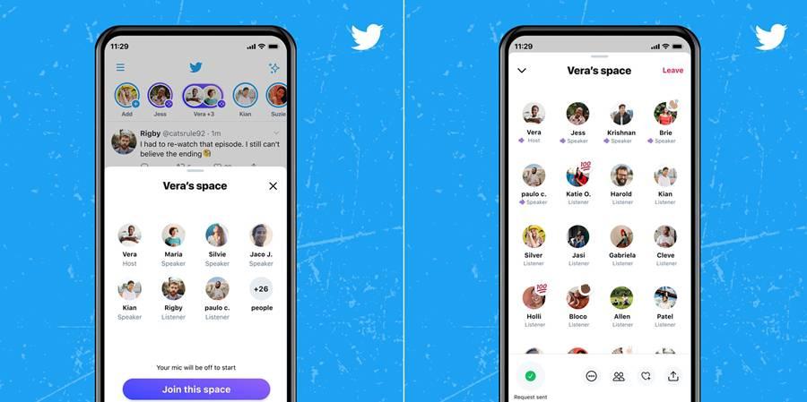 트위터가 지난 4일 정식으로 공개한 '스페이스' 기능. 올해 초 반짝인기를 모았던 클럽하우스와 판박이다 (출처=트위터)