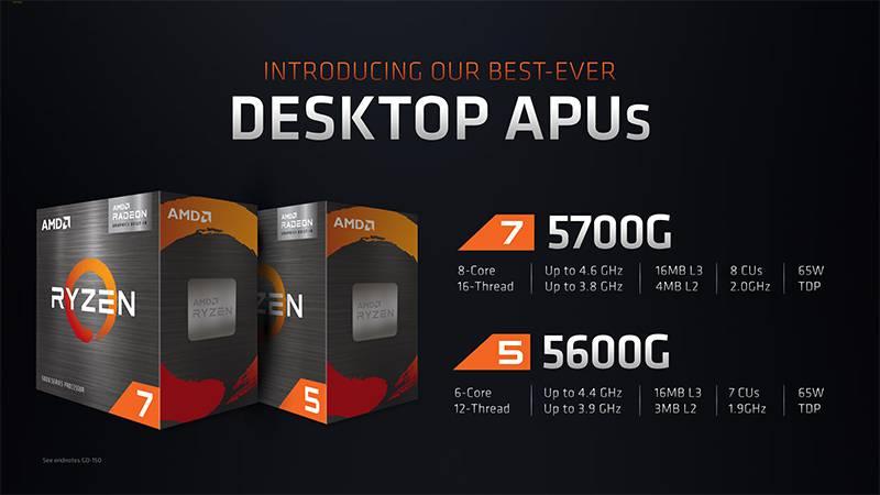 컴퓨텍스 2021에서 공개된 AMD 라이젠 5700G 및 5600G. 제공=AMD