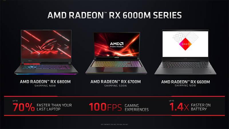 이번 발표를 통해 공개된 RDNA2 기반 AMD RX 6000 M 모바일 그래픽 카드. 제공=AMD