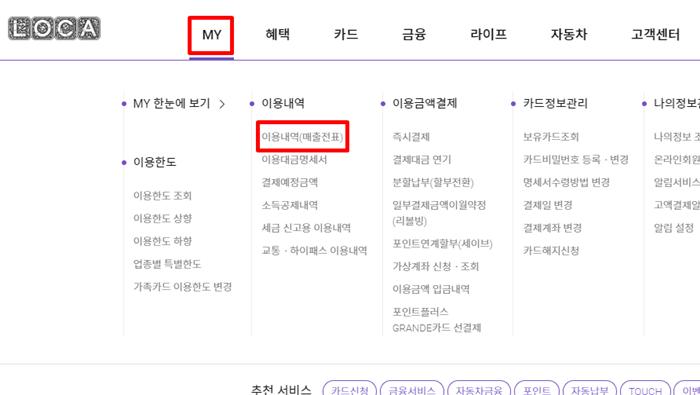 롯데카드는 MY→이용내역(매출전표)에서 확인할 수 있다