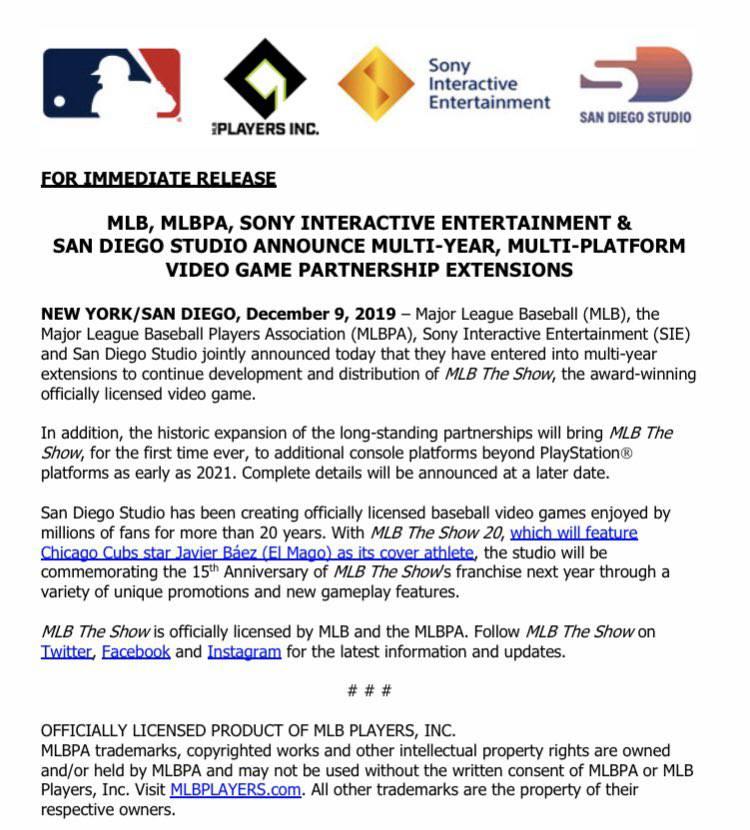 더쇼 21 멀티 플랫폼 발매 발표(자료출처-MLB 사무국 트위터)