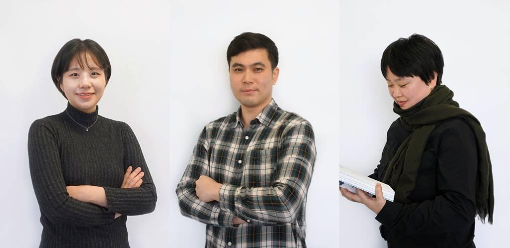 왼쪽부터 겜브릿지 김해인 기획자, 도민석 대표, 황유정 작가