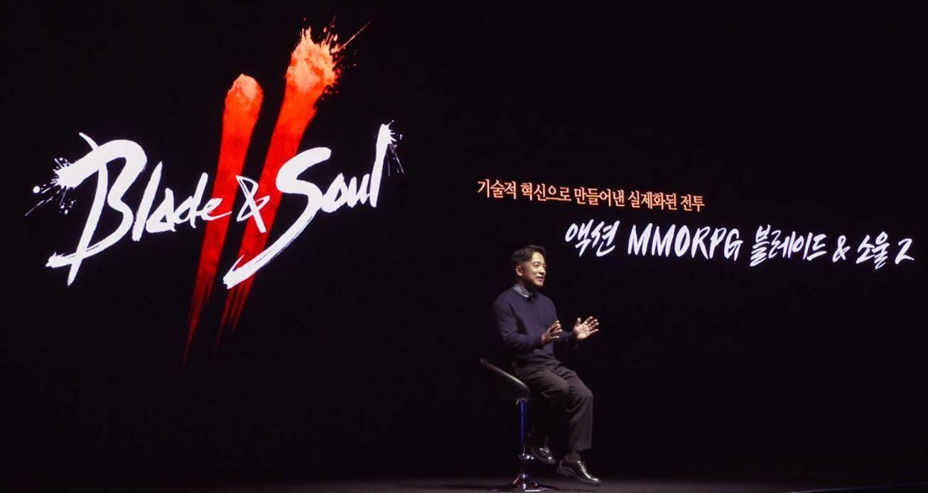 블레이드&소울2 쇼케이스에서 발표중인 엔씨소프트 김택진 대표 (엔씨소프트 제공)