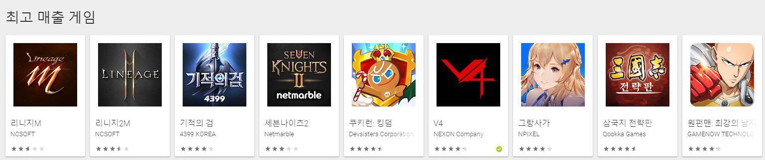 구글 플레이스토어 매출 순위 8위와 9위에 올라온 중국 게임들 / 구글플레이 스토어 캡처