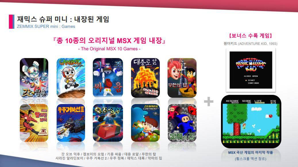 재믹스 슈퍼 미니 수록 게임들 / 네오팀 제공