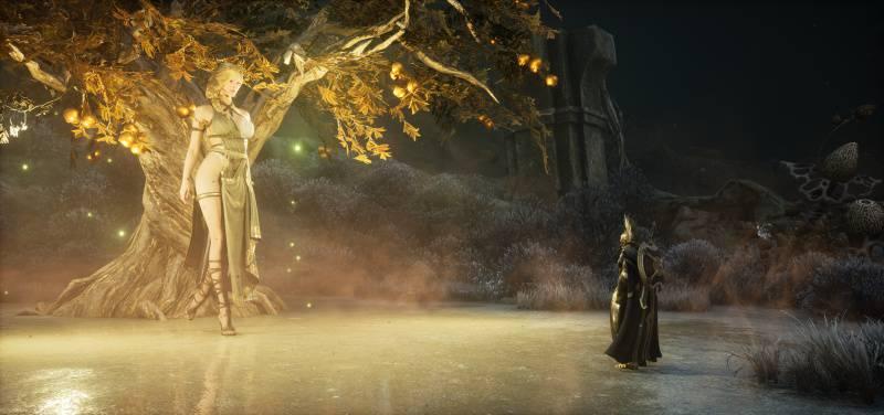황금 사과 나무 앞에 서 있는 젊음의 신 이둔