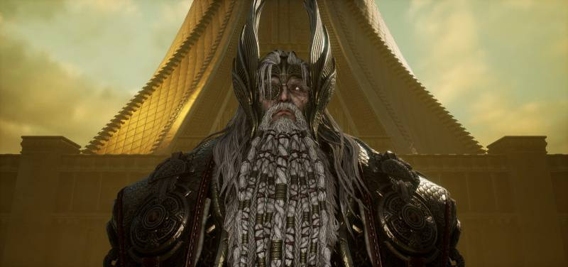 발할라 앞에 서 있는 오딘