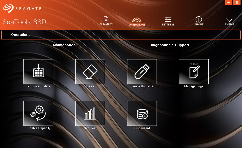 ▲ 씨게이트 SeaTools. 디스크 사용량 및 온도, 펌웨어 업데이트, 지우기, 부팅 디스크 만들기, 자가 테스트 등의 설정이 가능하다.