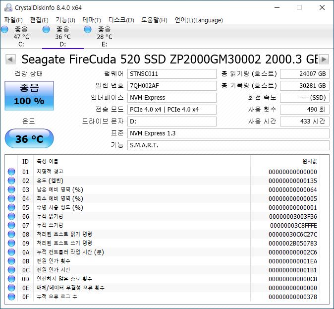 ▲ 파이어쿠다 520의 정보.
