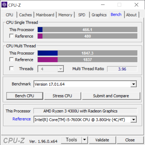 ▲저전력 4코어 4스레드 프로세서임에도 성능이 뛰어나다. 멀티 스레드 점수는 4코어 4스레드인 코어 i5-7600K를 넘어선다.