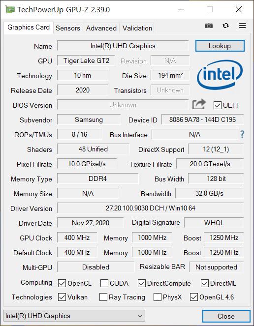 ▲ GPU는 인텔 UHD 그래픽스다.