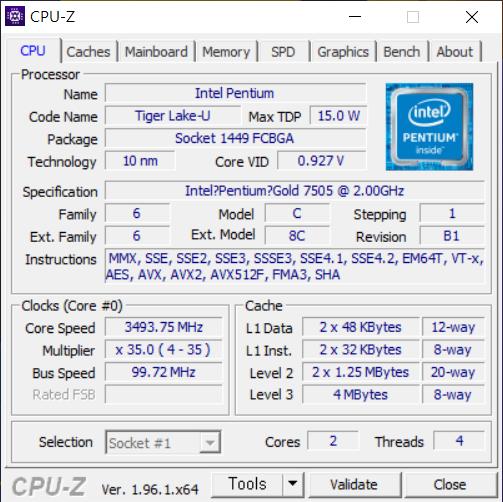 ▲ 인텔 펜티엄 골드 7505. 10nm 타이거레이크 기반 프로세서다. TDP 15W로 낮은 편이다. 2코어 4스레드로 동작한다.