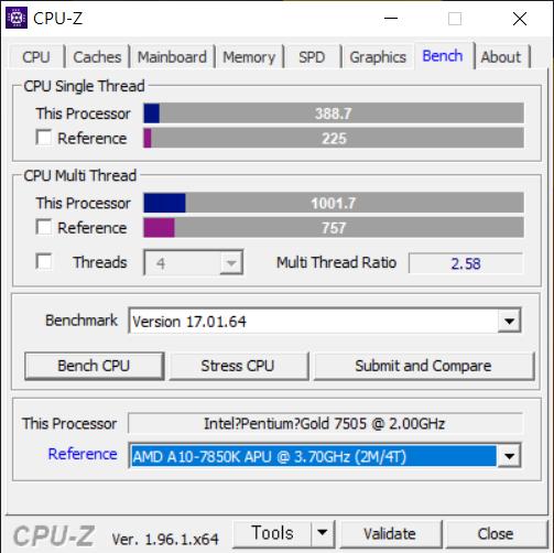 ▲ AMD의 A10-7850K 카베리보다는 높은 성능을 지녔다. 싱글 스레드 성능도 펜티엄치고 높은 편이다.