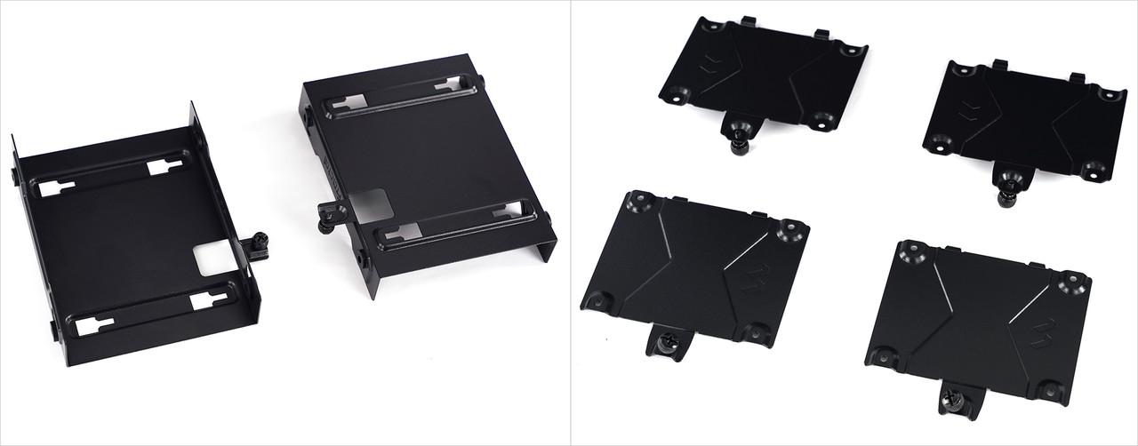 ▲ 3.5인치 HDD 전용 브래킷(좌)과 2.5인치 SSD · HDD 브래킷(우)