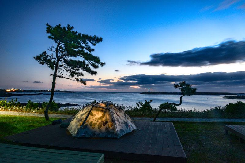 가파도 모슬포를 향한 감성 여행 베이스캠프, 하모해변 야영장
