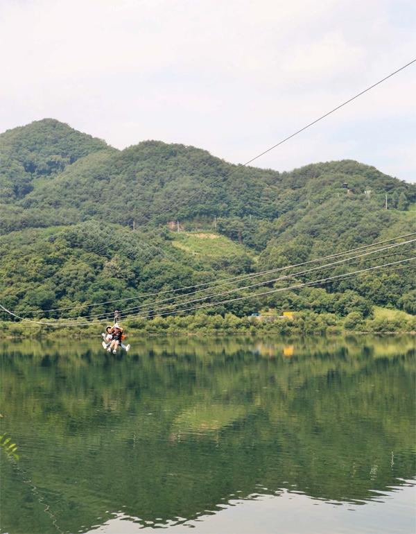 파로호 가운데 한반도섬을 향해 날아가는 짚라인 체험